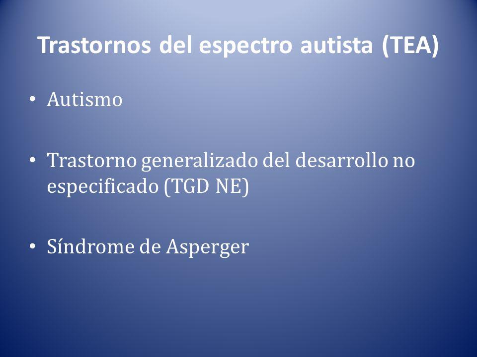 Trastornos del espectro autista (TEA) Autismo Trastorno generalizado del desarrollo no especificado (TGD NE) Síndrome de Asperger