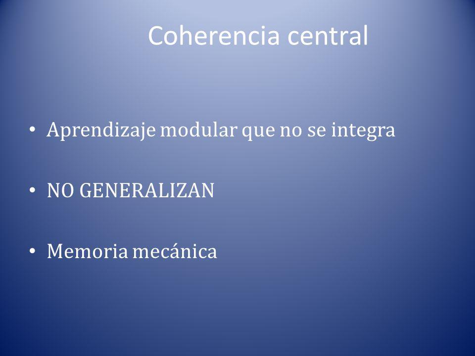 Coherencia central Aprendizaje modular que no se integra NO GENERALIZAN Memoria mecánica