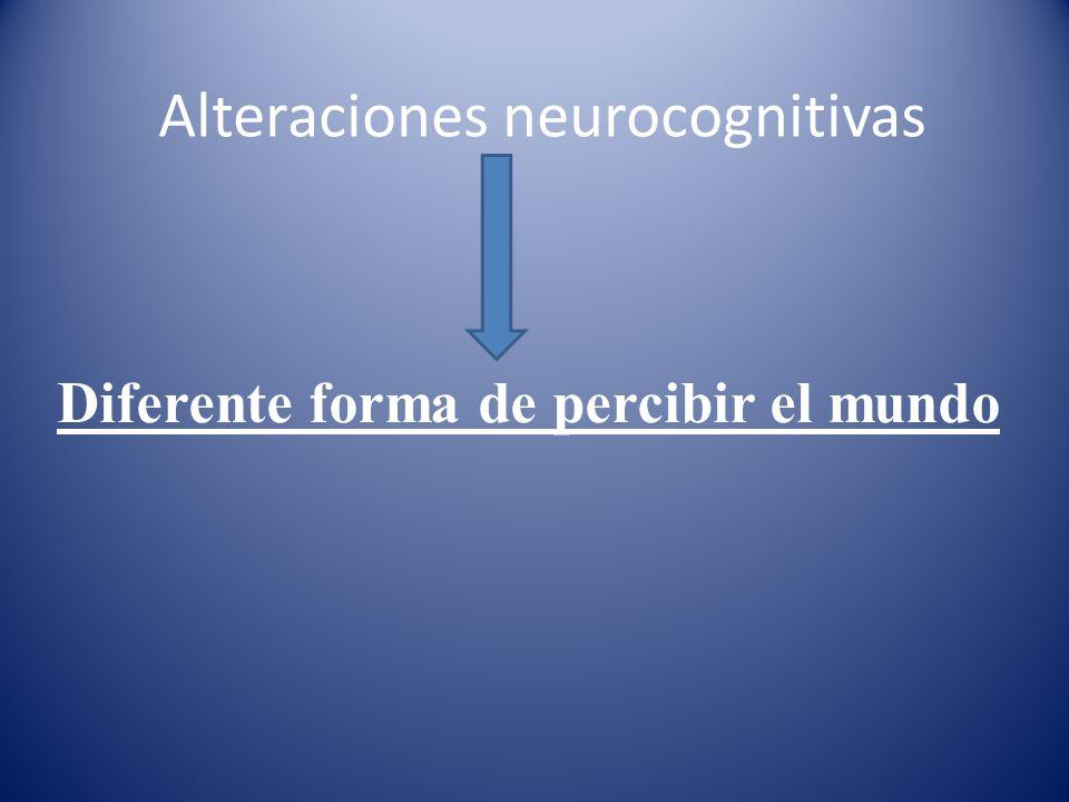 Alteraciones neurocognitivas Diferente forma de percibir el mundo