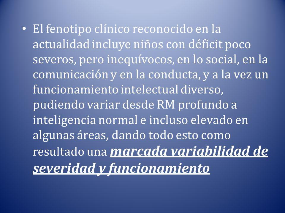 El fenotipo clínico reconocido en la actualidad incluye niños con déficit poco severos, pero inequívocos, en lo social, en la comunicación y en la con