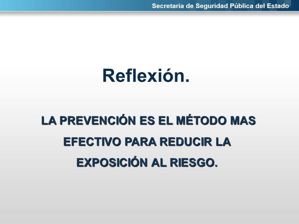 Secretaria de Seguridad Pública del Estado Reflexión. LA PREVENCIÓN ES EL MÉTODO MAS EFECTIVO PARA REDUCIR LA EXPOSICIÓN AL RIESGO.