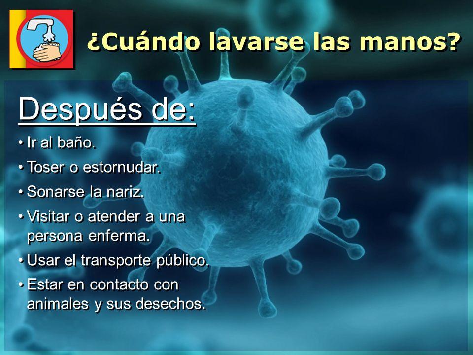 Después de: Ir al baño. Toser o estornudar. Sonarse la nariz. Visitar o atender a una persona enferma. Usar el transporte público. Estar en contacto c