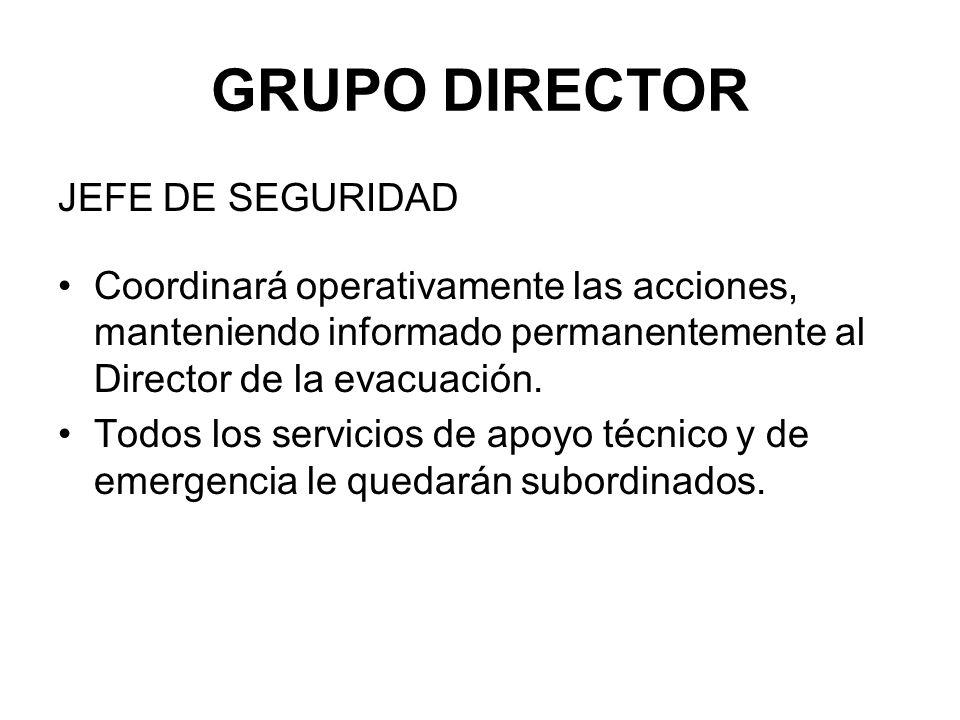GRUPO DIRECTOR JEFE DE SEGURIDAD Coordinará operativamente las acciones, manteniendo informado permanentemente al Director de la evacuación.