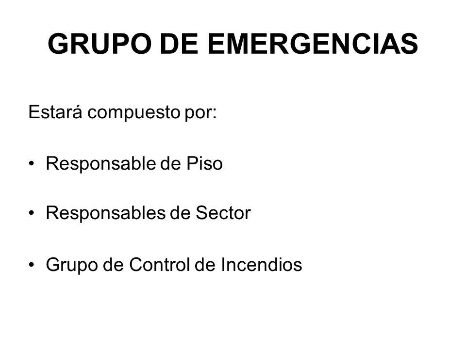 GRUPO DE EMERGENCIAS Estará compuesto por: Responsable de Piso Responsables de Sector Grupo de Control de Incendios
