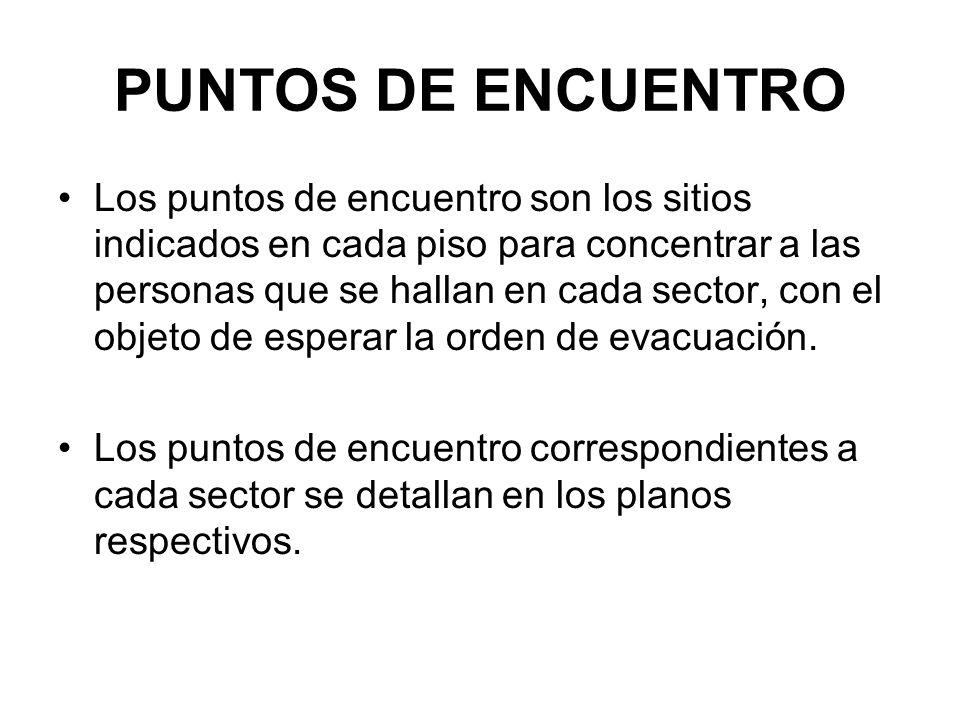 PUNTOS DE ENCUENTRO Los puntos de encuentro son los sitios indicados en cada piso para concentrar a las personas que se hallan en cada sector, con el objeto de esperar la orden de evacuación.