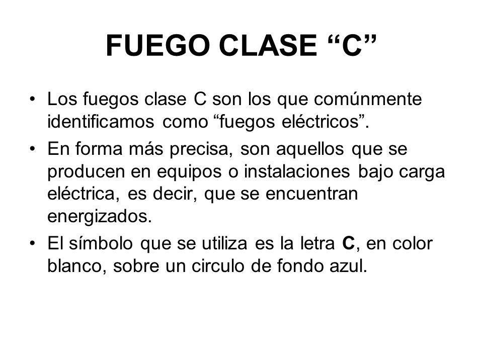 FUEGO CLASE C Los fuegos clase C son los que comúnmente identificamos como fuegos eléctricos.