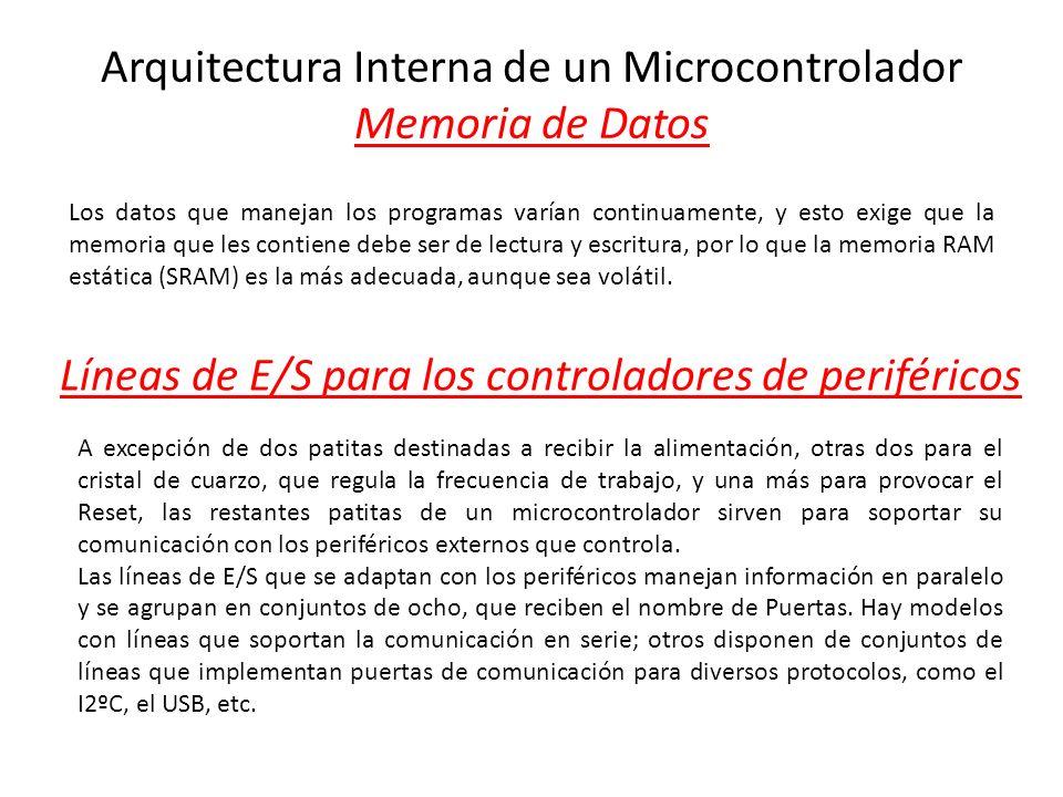 Arquitectura Interna de un Microcontrolador Memoria de Datos Los datos que manejan los programas varían continuamente, y esto exige que la memoria que
