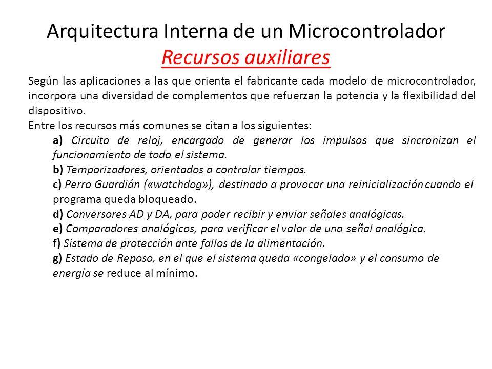 Arquitectura Interna de un Microcontrolador Recursos auxiliares Según las aplicaciones a las que orienta el fabricante cada modelo de microcontrolador