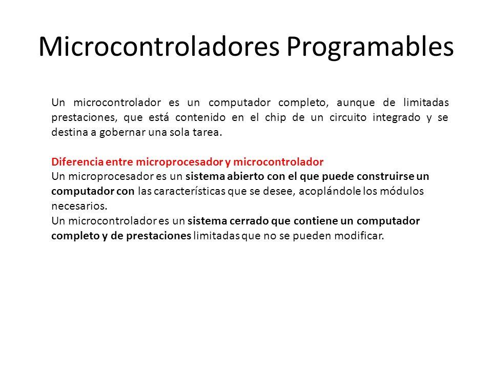 Un microcontrolador es un computador completo, aunque de limitadas prestaciones, que está contenido en el chip de un circuito integrado y se destina a