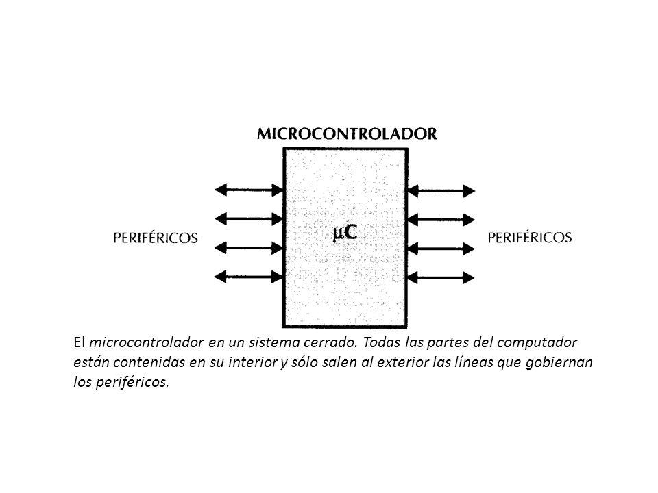 El microcontrolador en un sistema cerrado. Todas las partes del computador están contenidas en su interior y sólo salen al exterior las líneas que gob