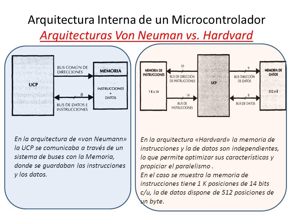 Arquitectura Interna de un Microcontrolador Arquitecturas Von Neuman vs. Hardvard En la arquitectura de «von Neumann» la UCP se comunicaba a través de