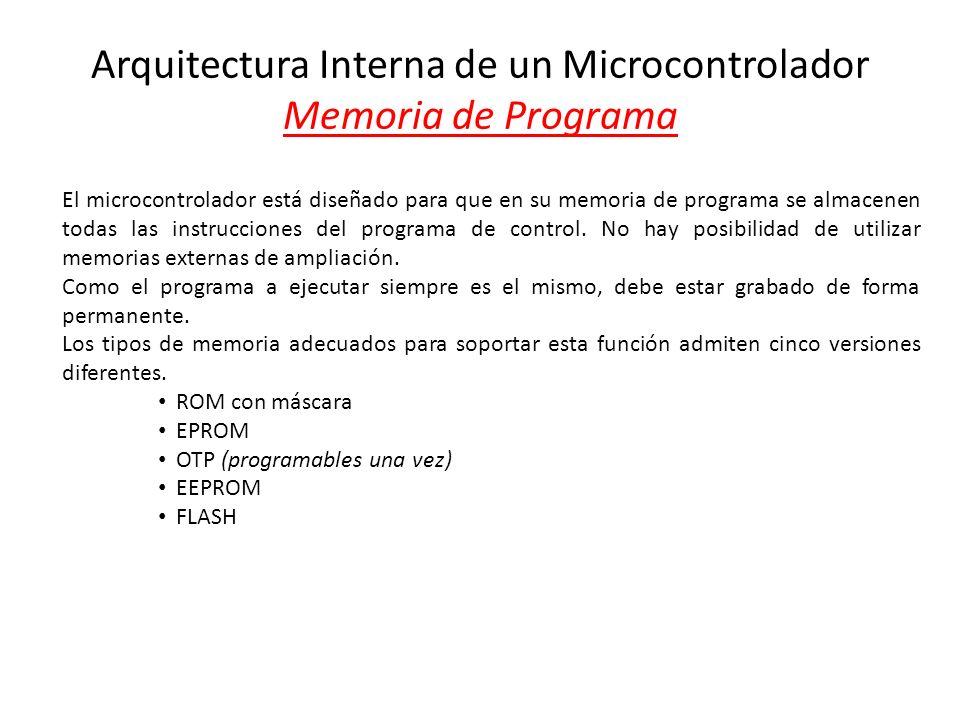 Arquitectura Interna de un Microcontrolador Memoria de Programa El microcontrolador está diseñado para que en su memoria de programa se almacenen toda