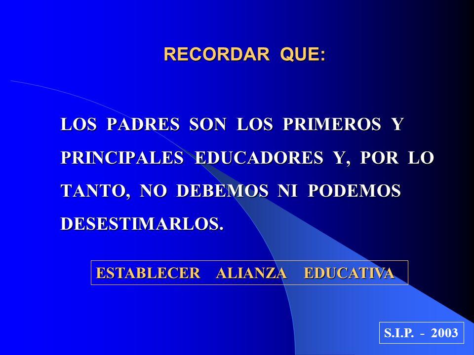 RECORDAR QUE: LOS PADRES SON LOS PRIMEROS Y PRINCIPALES EDUCADORES Y, POR LO TANTO, NO DEBEMOS NI PODEMOS DESESTIMARLOS. ESTABLECER ALIANZA EDUCATIVA