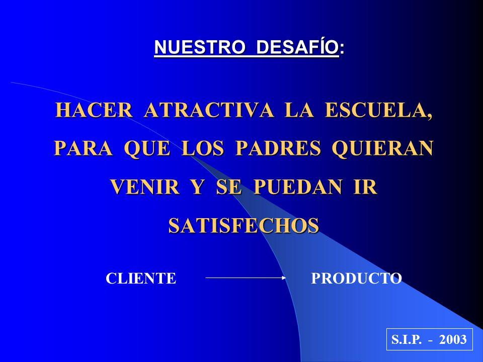 NUESTRO DESAFÍO: HACER ATRACTIVA LA ESCUELA, PARA QUE LOS PADRES QUIERAN VENIR Y SE PUEDAN IR SATISFECHOS CLIENTE PRODUCTO S.I.P. - 2003