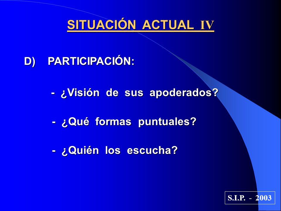 SITUACIÓN ACTUAL IV D) PARTICIPACIÓN: - ¿Visión de sus apoderados.