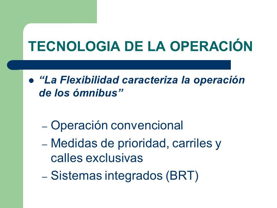 TECNOLOGIA DE LA OPERACIÓN La Flexibilidad caracteriza la operación de los ómnibus – Operación convencional – Medidas de prioridad, carriles y calles