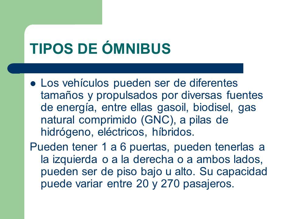 TIPOS DE ÓMNIBUS Los vehículos pueden ser de diferentes tamaños y propulsados por diversas fuentes de energía, entre ellas gasoil, biodisel, gas natur