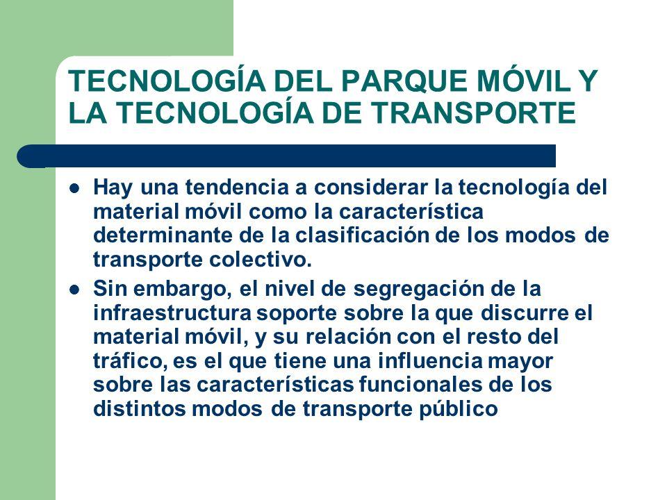 TECNOLOGÍA DEL PARQUE MÓVIL Y LA TECNOLOGÍA DE TRANSPORTE Hay una tendencia a considerar la tecnología del material móvil como la característica deter