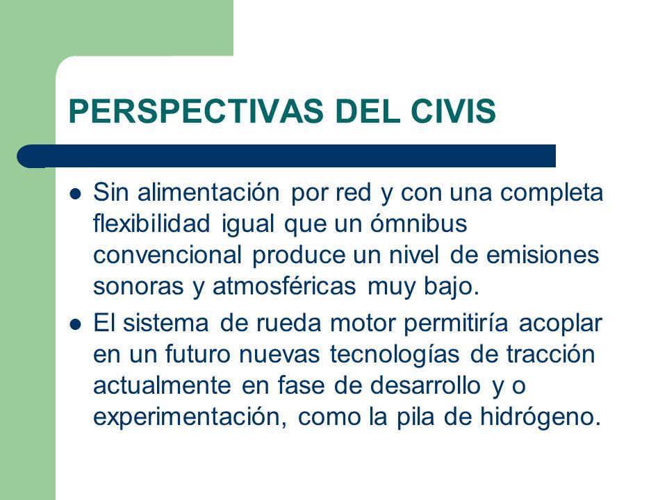 PERSPECTIVAS DEL CIVIS Sin alimentación por red y con una completa flexibilidad igual que un ómnibus convencional produce un nivel de emisiones sonora