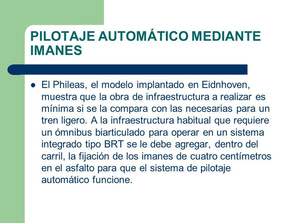 PILOTAJE AUTOMÁTICO MEDIANTE IMANES El Phileas, el modelo implantado en Eidnhoven, muestra que la obra de infraestructura a realizar es mínima si se l
