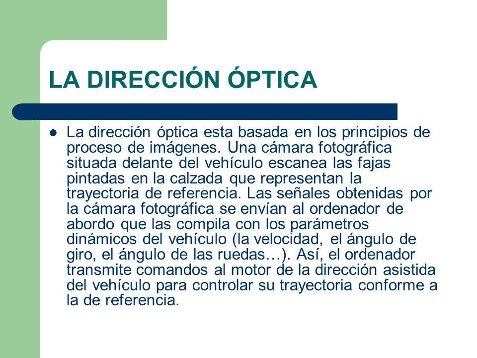 LA DIRECCIÓN ÓPTICA La dirección óptica esta basada en los principios de proceso de imágenes. Una cámara fotográfica situada delante del vehículo esca