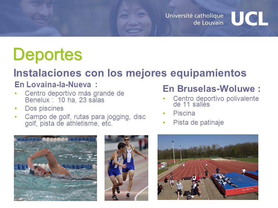 Deportes En Lovaina-la-Nueva : Centro deportivo más grande de Benelux : 10 ha, 23 salas Dos piscines Campo de golf, rutas para jogging, disc golf, pista de athletisme, etc.
