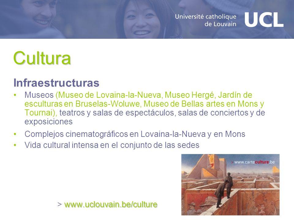 Cultura Infraestructuras Museos (Museo de Lovaina-la-Nueva, Museo Hergé, Jardín de esculturas en Bruselas-Woluwe, Museo de Bellas artes en Mons y Tour