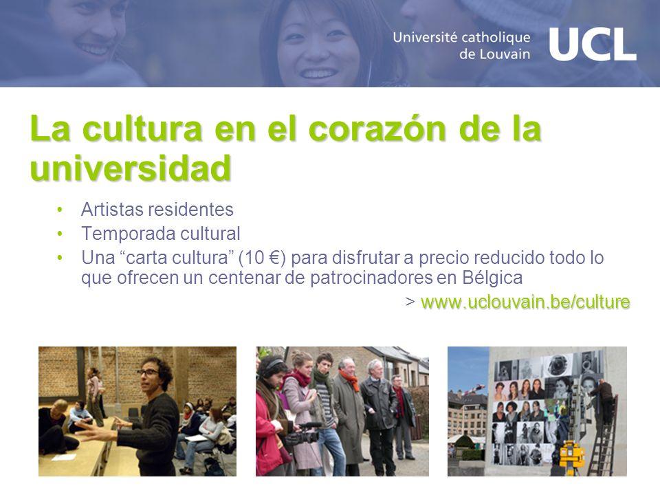 La cultura en el corazón de la universidad Artistas residentes Temporada cultural Una carta cultura (10 ) para disfrutar a precio reducido todo lo que