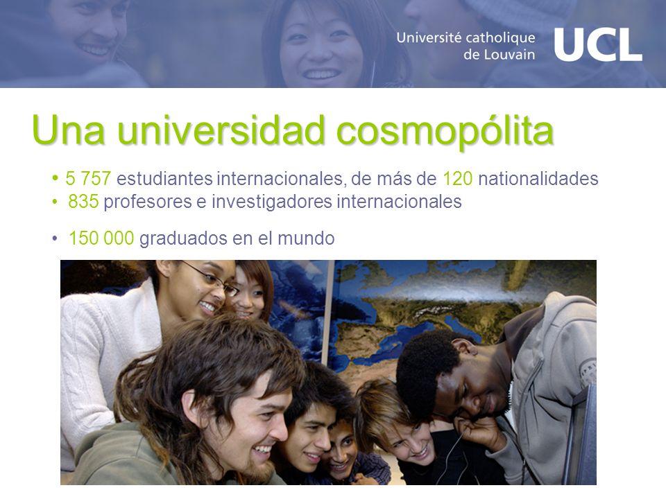 Una universidad cosmopólita 5 757 estudiantes internacionales, de más de 120 nationalidades 835 profesores e investigadores internacionales 150 000 graduados en el mundo