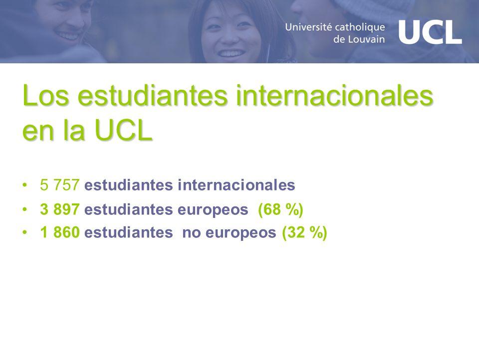 Los estudiantes internacionales en la UCL 5 757 estudiantes internacionales 3 897 estudiantes europeos (68 %) 1 860 estudiantes no europeos (32 %)