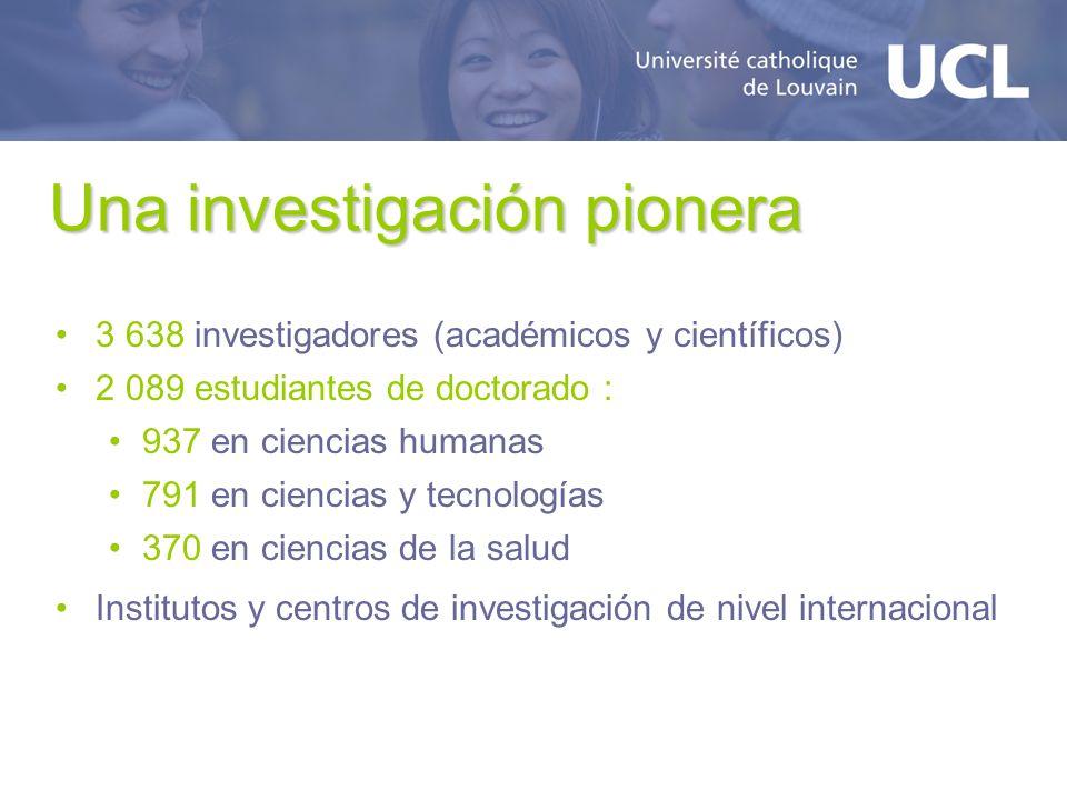 Una investigación pionera 3 638 investigadores (académicos y científicos) 2 089 estudiantes de doctorado : 937 en ciencias humanas 791 en ciencias y tecnologías 370 en ciencias de la salud Institutos y centros de investigación de nivel internacional