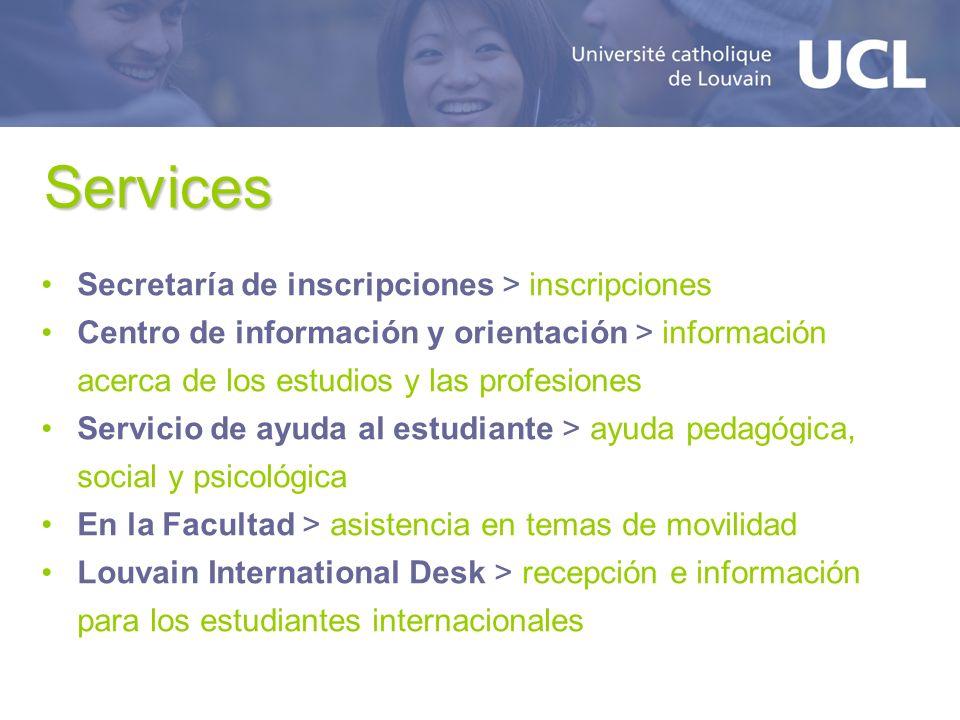 Services Secretaría de inscripciones > inscripciones Centro de información y orientación > información acerca de los estudios y las profesiones Servic