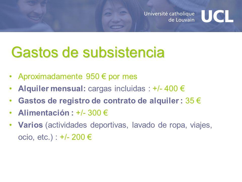 Gastos de subsistencia Aproximadamente 950 por mes Alquiler mensual: cargas incluidas : +/- 400 Gastos de registro de contrato de alquiler : 35 Alimen