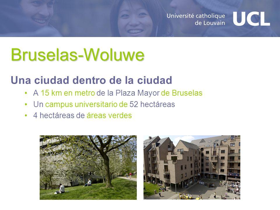 Bruselas-Woluwe Una ciudad dentro de la ciudad A 15 km en metro de la Plaza Mayor de Bruselas Un campus universitario de 52 hectáreas 4 hectáreas de áreas verdes