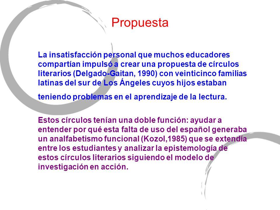 Propuesta La insatisfacción personal que muchos educadores compartían impulsó a crear una propuesta de círculos literarios (Delgado-Gaitan, 1990) con