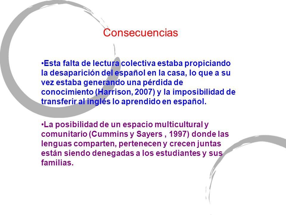 Consecuencias Esta falta de lectura colectiva estaba propiciando la desaparición del español en la casa, lo que a su vez estaba generando una pérdida de conocimiento (Harrison, 2007) y la imposibilidad de transferir al inglés lo aprendido en español.