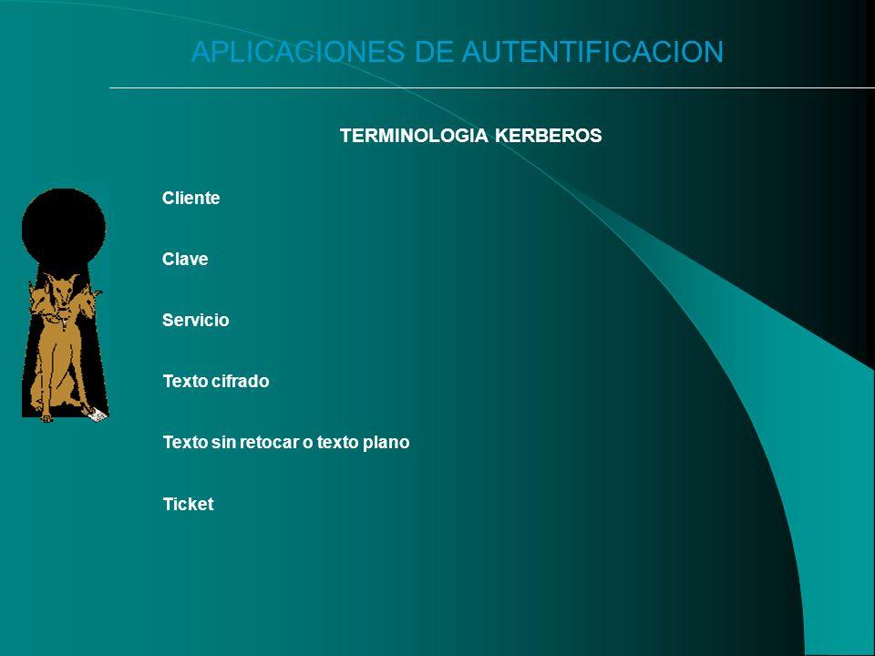 APLICACIONES DE AUTENTIFICACION TERMINOLOGIA KERBEROS Cliente Clave Servicio Texto cifrado Texto sin retocar o texto plano Ticket