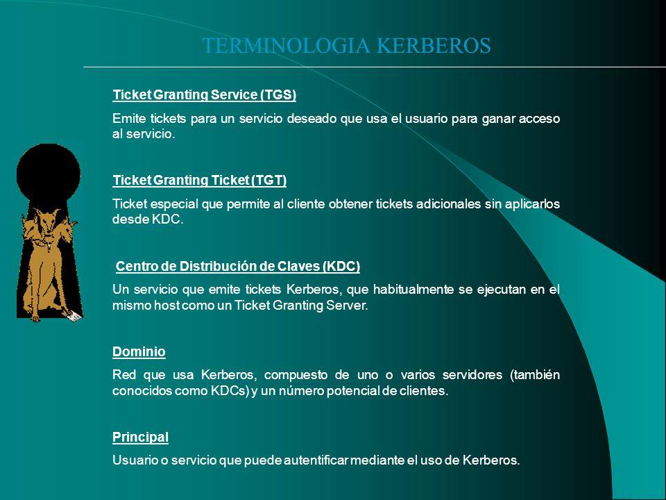 TERMINOLOGIA KERBEROS Ticket Granting Service (TGS) Emite tickets para un servicio deseado que usa el usuario para ganar acceso al servicio.