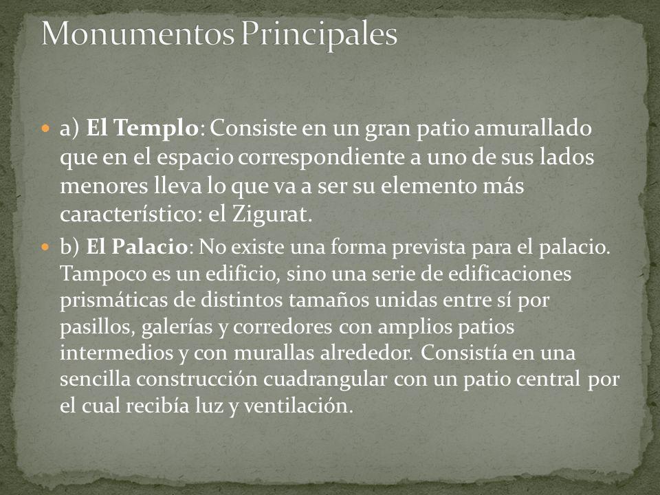 a) El Templo: Consiste en un gran patio amurallado que en el espacio correspondiente a uno de sus lados menores lleva lo que va a ser su elemento más