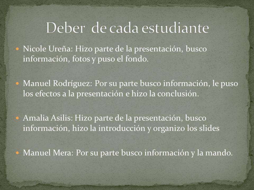 Nicole Ureña: Hizo parte de la presentación, busco información, fotos y puso el fondo. Manuel Rodríguez: Por su parte busco información, le puso los e
