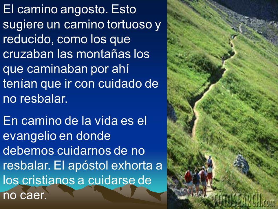El camino angosto. Esto sugiere un camino tortuoso y reducido, como los que cruzaban las montañas los que caminaban por ahí tenían que ir con cuidado