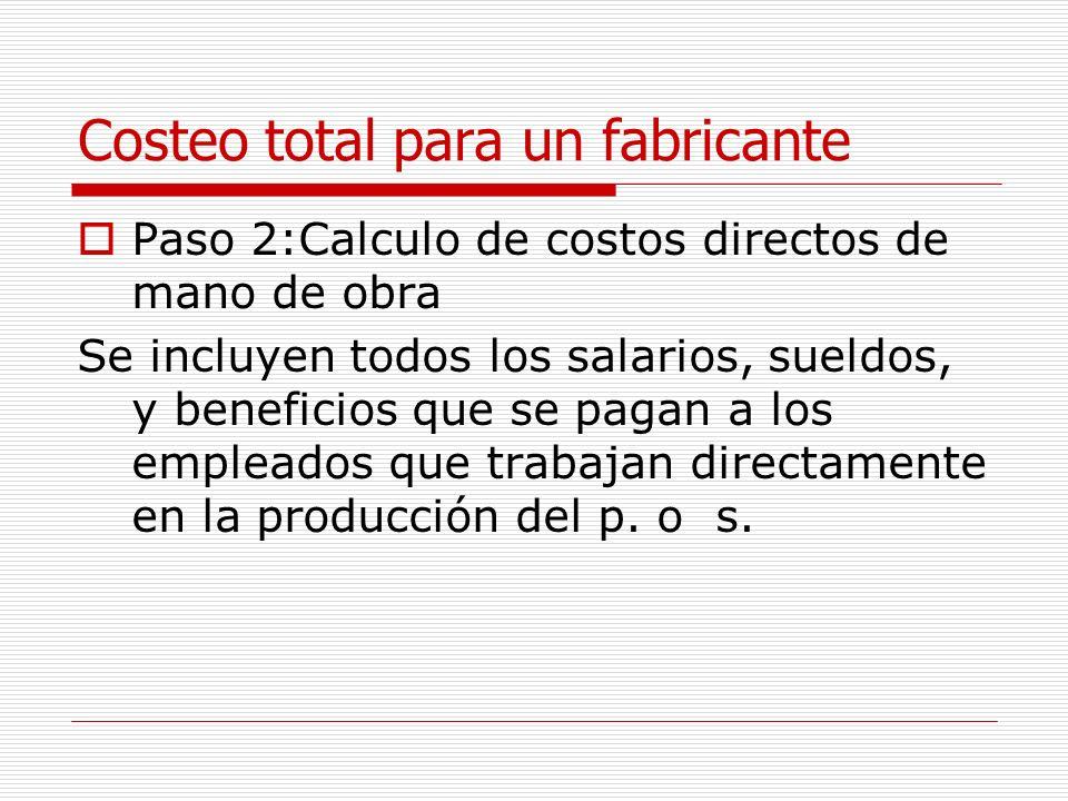 Costeo total para un fabricante Paso 2:Calculo de costos directos de mano de obra Se incluyen todos los salarios, sueldos, y beneficios que se pagan a