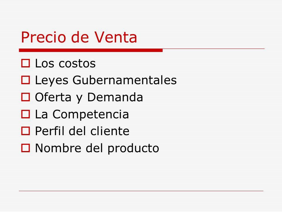 Precio de Venta Los costos Leyes Gubernamentales Oferta y Demanda La Competencia Perfil del cliente Nombre del producto