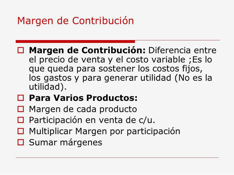 Margen de Contribución Margen de Contribución: Diferencia entre el precio de venta y el costo variable ;Es lo que queda para sostener los costos fijos
