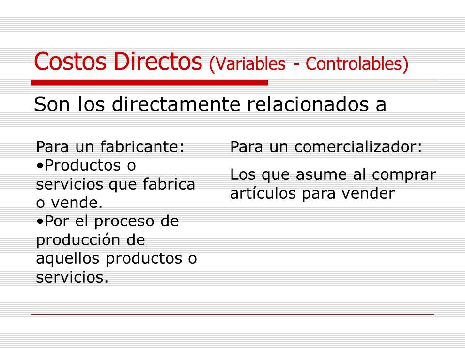 Costos Directos (Variables - Controlables) Son los directamente relacionados a Para un fabricante: Productos o servicios que fabrica o vende. Por el p