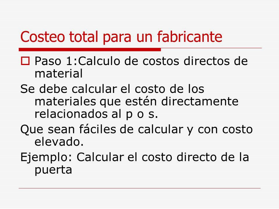 Costeo total para un fabricante Paso 1:Calculo de costos directos de material Se debe calcular el costo de los materiales que estén directamente relac