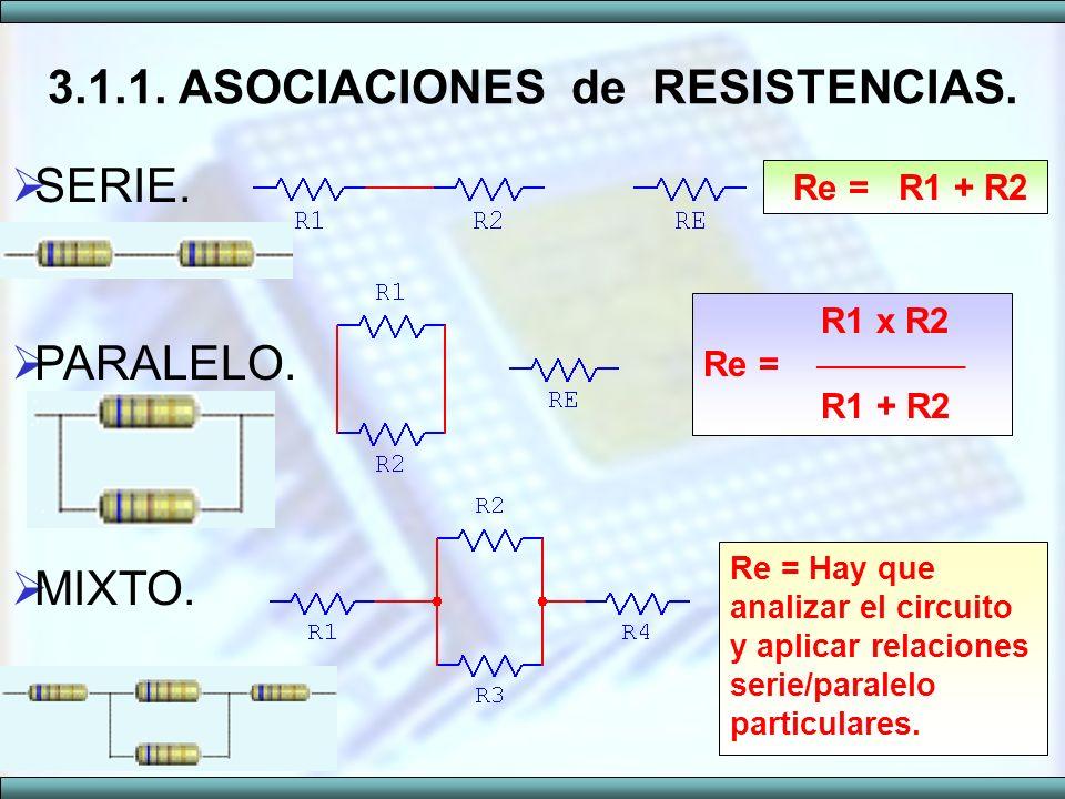 SERIE. PARALELO. MIXTO. 3.1.1. ASOCIACIONES de RESISTENCIAS. R1 x R2 Re = R1 + R2 Re = R1 + R2 Re = Hay que analizar el circuito y aplicar relaciones