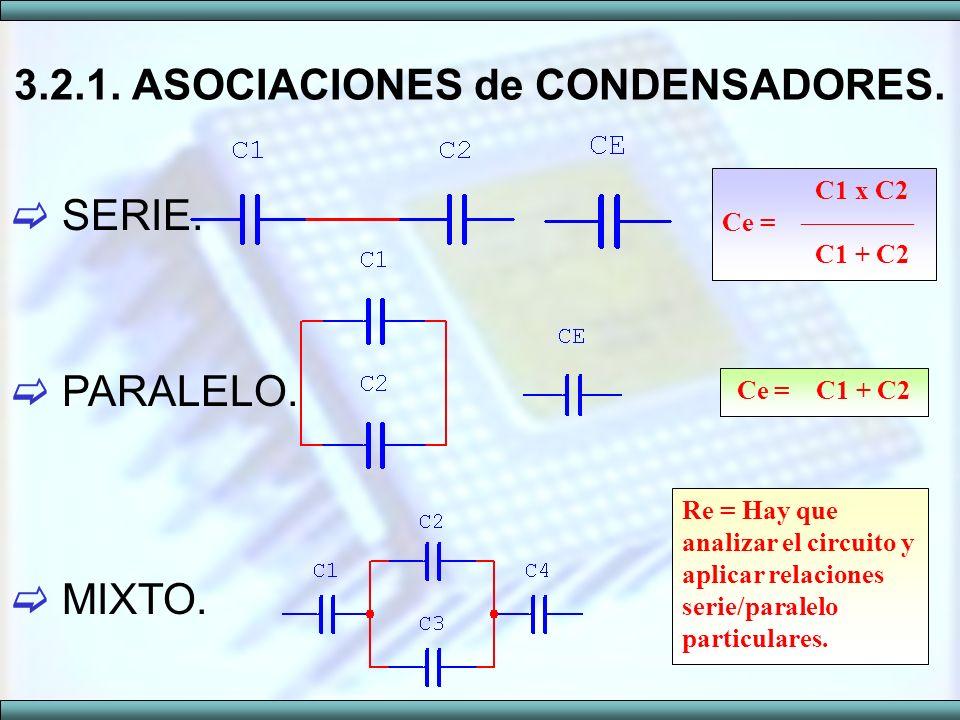 SERIE. PARALELO. MIXTO. 3.2.1. ASOCIACIONES de CONDENSADORES. C1 x C2 Ce = C1 + C2 Ce = C1 + C2 Re = Hay que analizar el circuito y aplicar relaciones