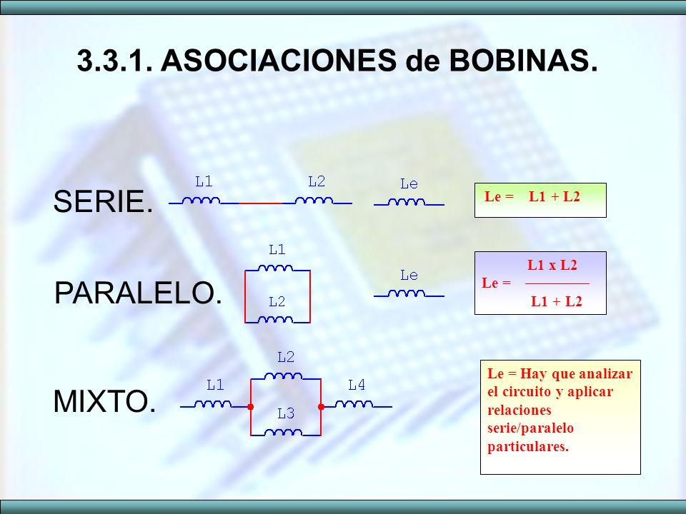 SERIE. PARALELO. MIXTO. 3.3.1. ASOCIACIONES de BOBINAS. L1 x L2 Le = L1 + L2 Le = L1 + L2 Le = Hay que analizar el circuito y aplicar relaciones serie