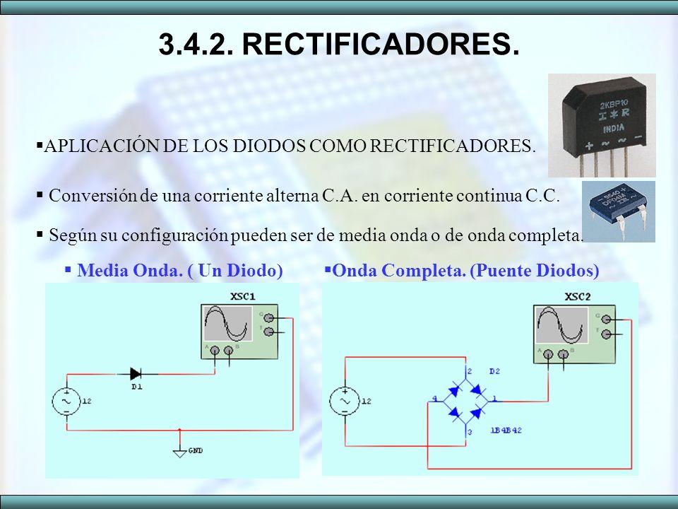 3.4.2. RECTIFICADORES. APLICACIÓN DE LOS DIODOS COMO RECTIFICADORES. Conversión de una corriente alterna C.A. en corriente continua C.C. Según su conf